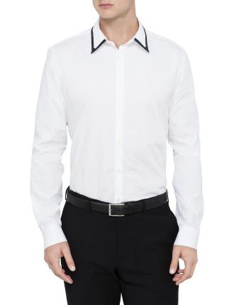 Long Sleeve Contrast Spot Collar Shirt