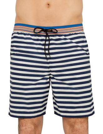 Nautical Stripe Long Classic Swim Short