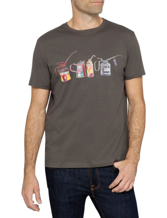Short Sleeve Oil Cans Print Tee