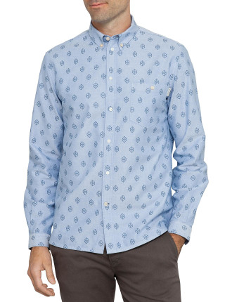 Long Sleeve Tailored Fit Geo Print Front Pocket Shirt