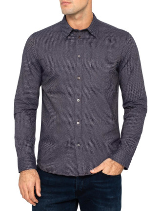 Long Sleeve Geo Allover Print Tailored Fit Shirt