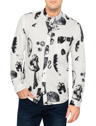 Long Sleeve Libre & Rock Print Shirt