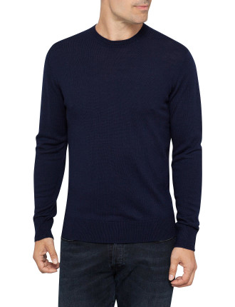 Crew Neck Merino Elbow Patch Sweater