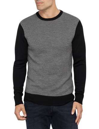 Crew Neck Merino Textured Cotrast Sweater
