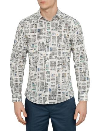 Long Sleeve Allover Window Print Shirt