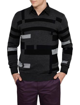 Crew Neck Irregular Graphic Sweater