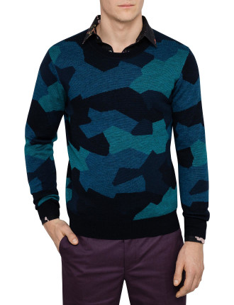 Crew Neck Abstract Camo Sweater