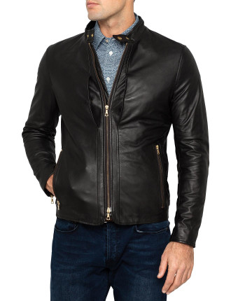 Leather Gold Zip Thru Jacket