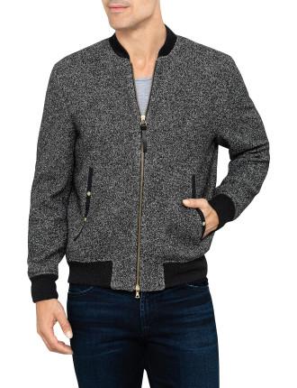 Wool & Cotton Boucle Bomber Jacket