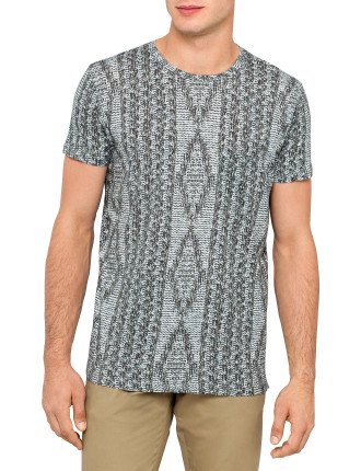 Short Sleeve Sweater Print Jersey Tee