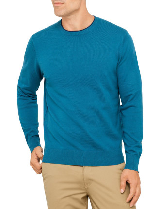 Basic Knit With Contrast Crew Neck Collar