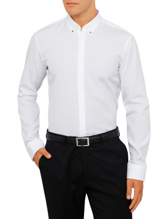White Shirt With Metal Button Down