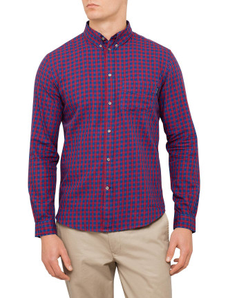 Tailored Fit Red And Blue Checked Shirt