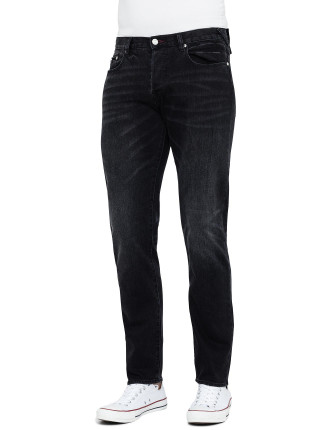Washed Blk Tapered Fit Jean