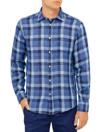 Blue Linen Plaid Shirt