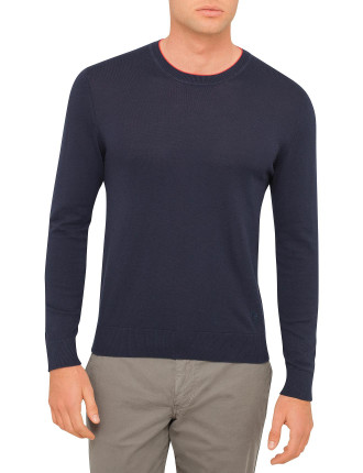 Contrast Tip Crew Neck Knit