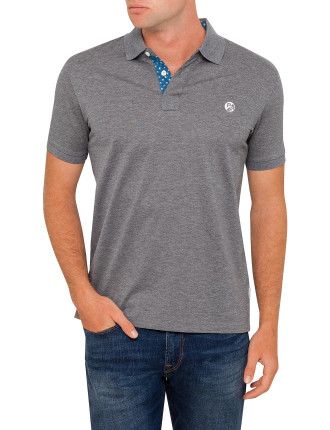 Polo With Spot Contrast Placket And Ps Symbol