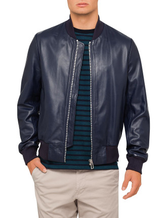 Navy Leather Bomber