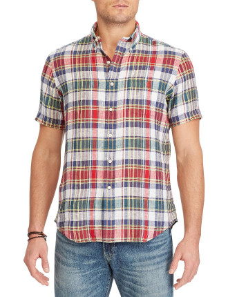Standard Fit Plaid Linen Shirt