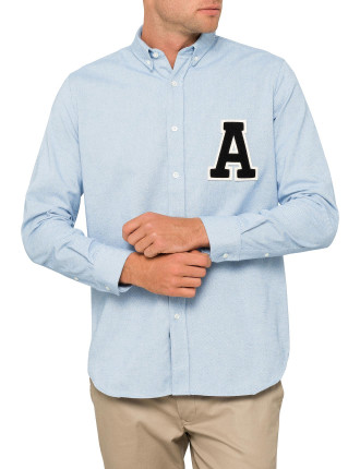 VARSITY A PATCH BUTTON DOWN SHIRT
