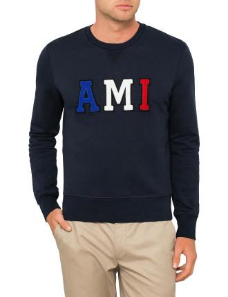 'AMI' PATCH CREW NECK SWEATSHIRT