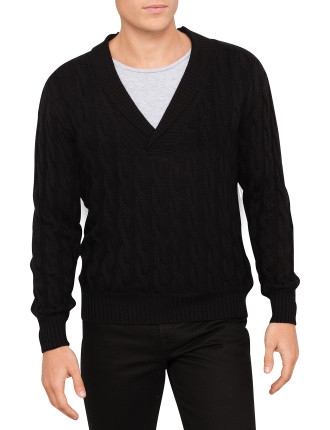 Long Sleeve Shawl Collar Cable Jumper