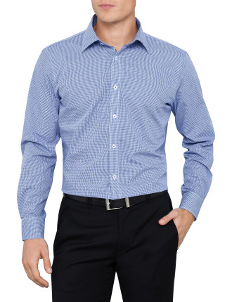 Long Sleeve Gingham Jacquard Shirt