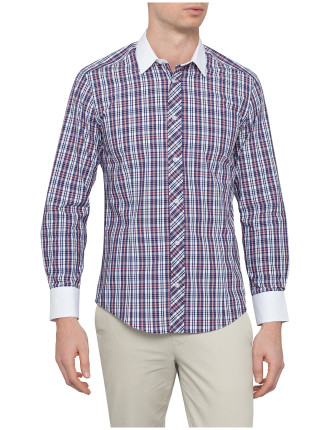 Long Sleeve Contrast Collar & Cuff Check Shirt