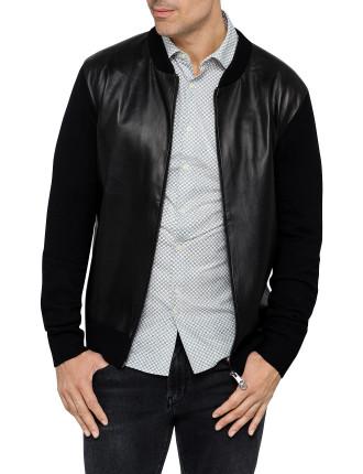 Leather Knit Zip Thru Jacket