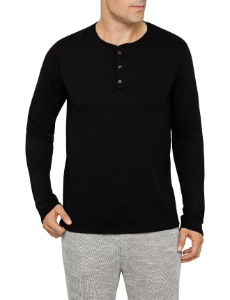 Long Sleeve Henley Double Face Knit