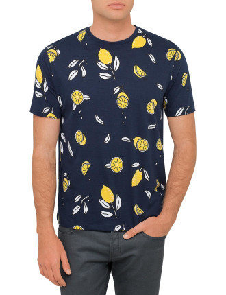 All Over Lemons Print Crew Neck Tee