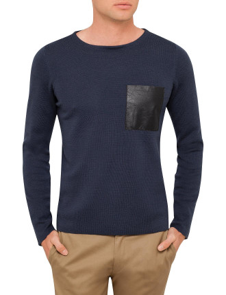 Grey Pocket Detail Crew Neck Knit