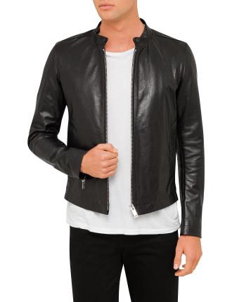 Leather Bomber Jkt