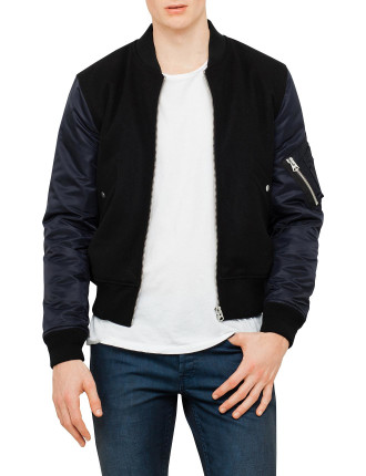 Bomber Jkt With Contrast Sleeves