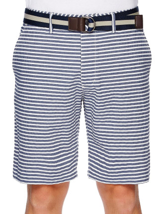 Seersucker Stripe Short With Belt