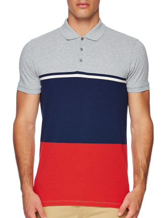 Short Sleeve Colour Block Pique Polo