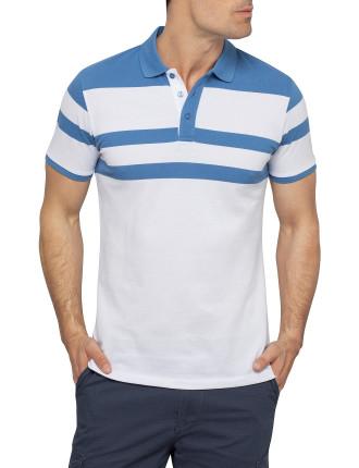 Tennis Reverse Stripe Pique Polo