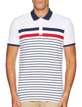 Short Sleeve Engineered Yd Stripe Polo