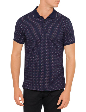 Short Sleeve Geo Print Jersey Polo