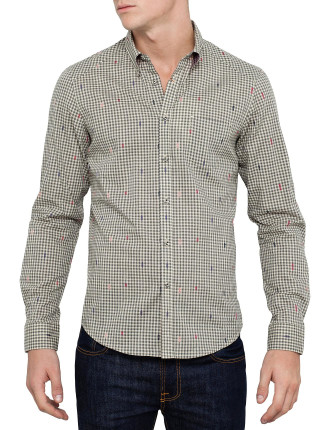 Long Sleeve Gingham & Multi Colour Dobby Shirt