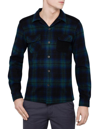 Long Sleeve Knit Pocket Tartan Overshirt