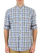Long Sleeve Heather Poplin Check Shirt $99.95