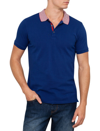 Short Sleeve Stripe Collar Pique Polo