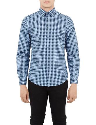 Ls Overprinted Geo Check Shirt