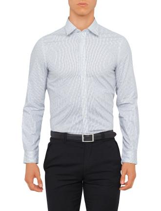 Ls Overprinted Stripe Shirt