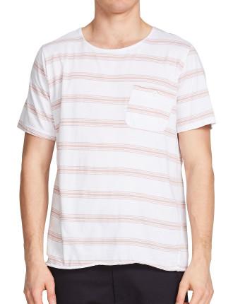 Stripe Button Pocket T.Shirt