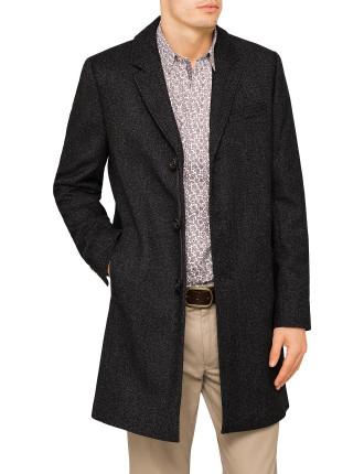 3 Button Herringbone Overcoat