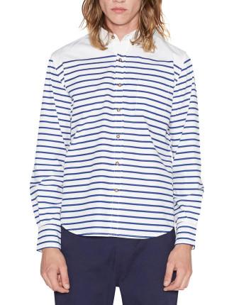 L/S Breton Striped Oxford Shirt