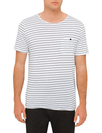 Stripe Original Button Pocket T Shirt