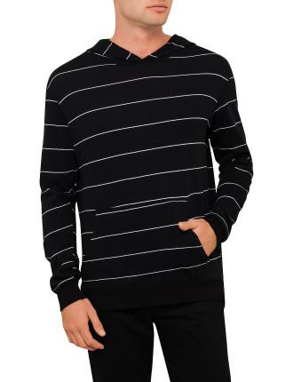 Stripe Jersey Hooded L/S Tee
